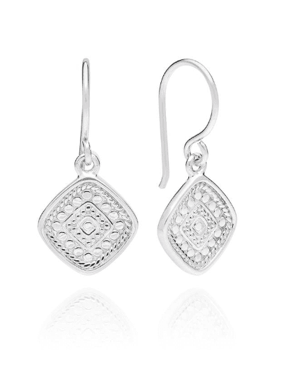 Signature Beaded Cushion Drop Earrings - Sterling Silver
