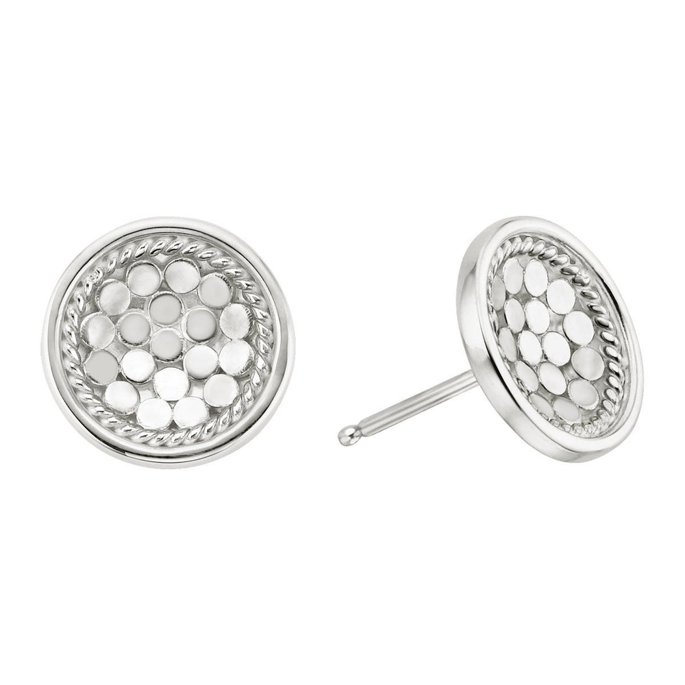 Anna Beck Round Dish Stud Earrings - Sterling Silver - Verbena Sky , Women - Jewelry - Earrings - Verbena Sky, [Verbena Sky Boutique]