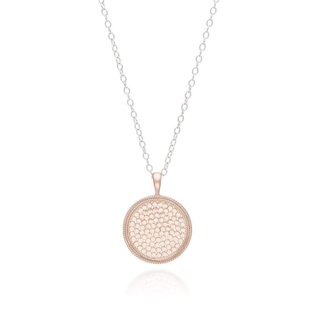 Anna Beck Large Medallion Necklace | Rose Gold | Reversible Pendant | Sterling Silver