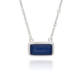 Anna Beck Blue Sapphire Bar Pendant Necklace | Sterling Silver | Women's Reversible Pendant