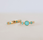 Anna Beck Turquoise Hammered Stackable Ring - Gold