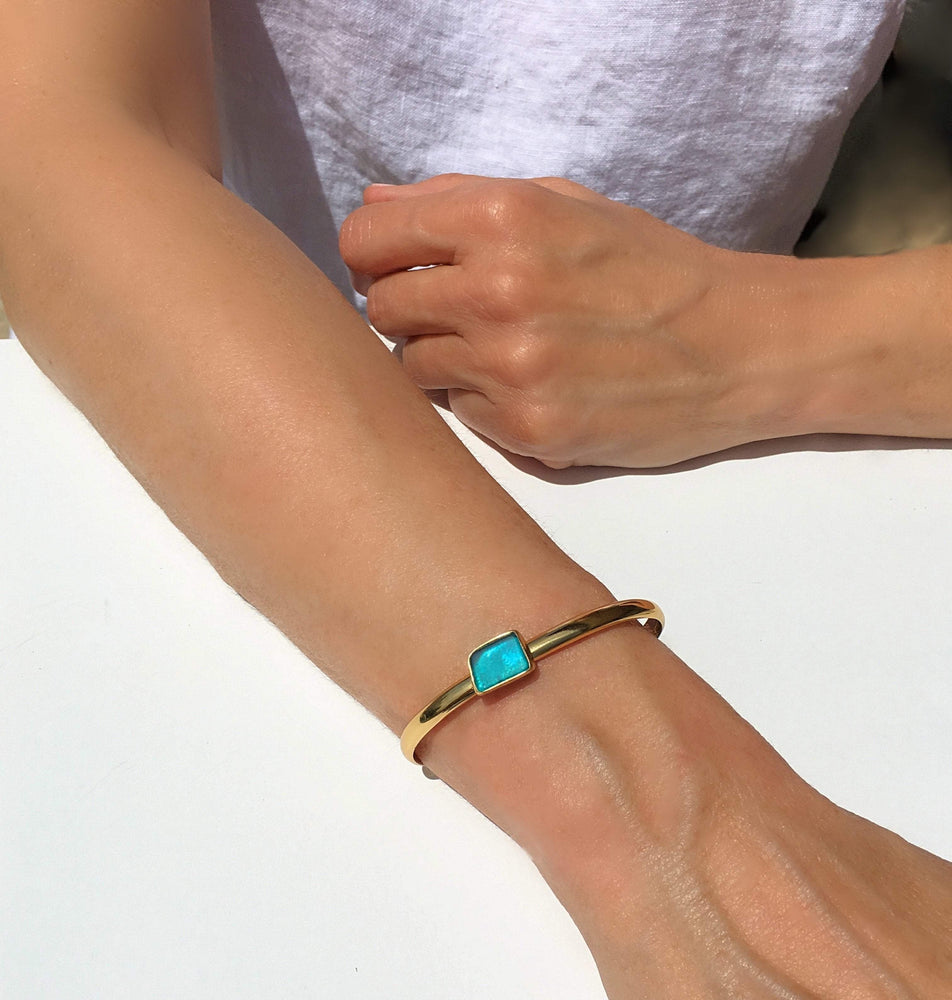 Sea Glass Mini Cuff Bracelet - Blue/Gold - Verbena Sky , Women - Jewelry - Bracelets - Verbena Sky, [Verbena Sky Boutique]