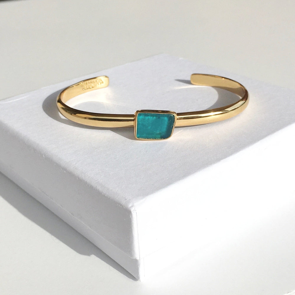 Sea Glass Mini Cuff Bracelet - Blue/Gold