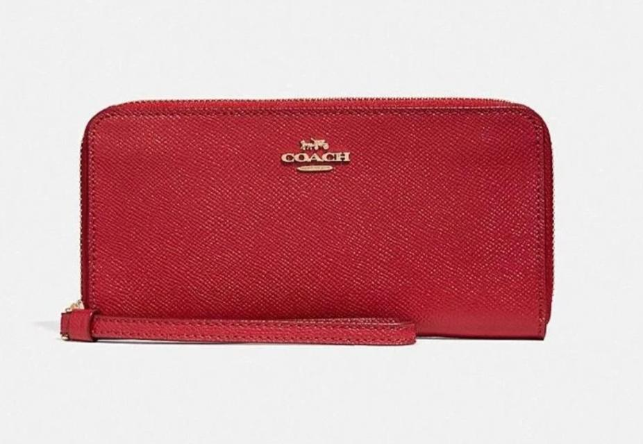 Coach Crossgrain Leather RFID Wallet - True Red