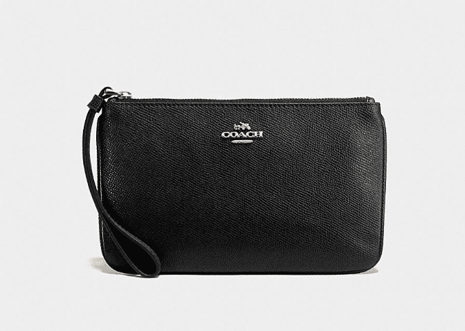 Coach Crossgrain Leather Wristlet - Black
