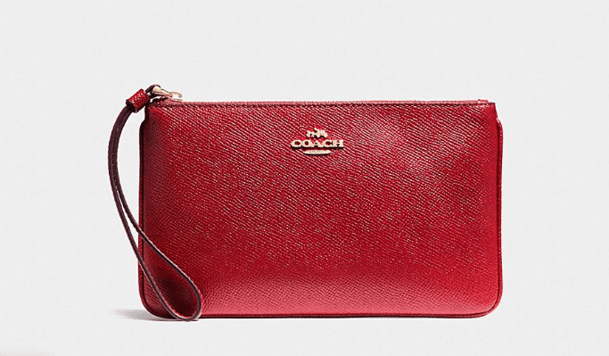Coach Crossgrain Leather Wristlet - Red
