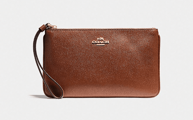 Coach Crossgrain Leather Wristlet - Saddle