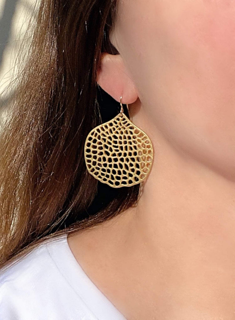 Sea Inspired Earrings |Gold Large Statement Earrings | Filigree Abstract Design