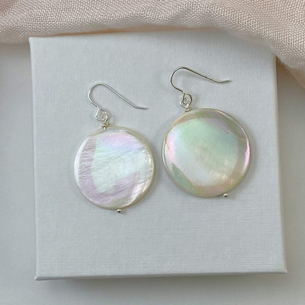 Genuine Mother of Pearl Statement Earrings, White Rainbow Abalone