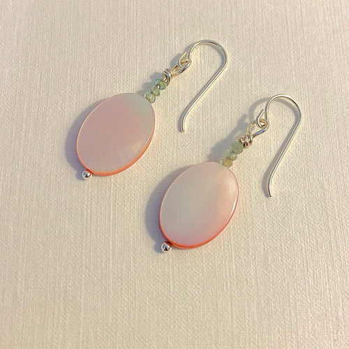 Genuine Pink Shell Earrings, Apatite Gemstone Accents, Sterling Silver