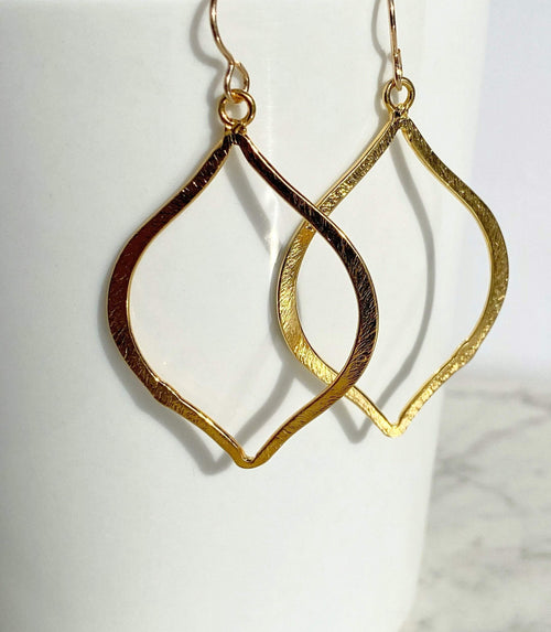 Open Teardrop Earrings | Artisan Statement Earrings | Gold Vermeil