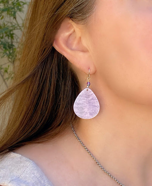Lavender Large Teardrop Earrings | Sterling Silver Ear Wire | Acetate Tortoise Shell