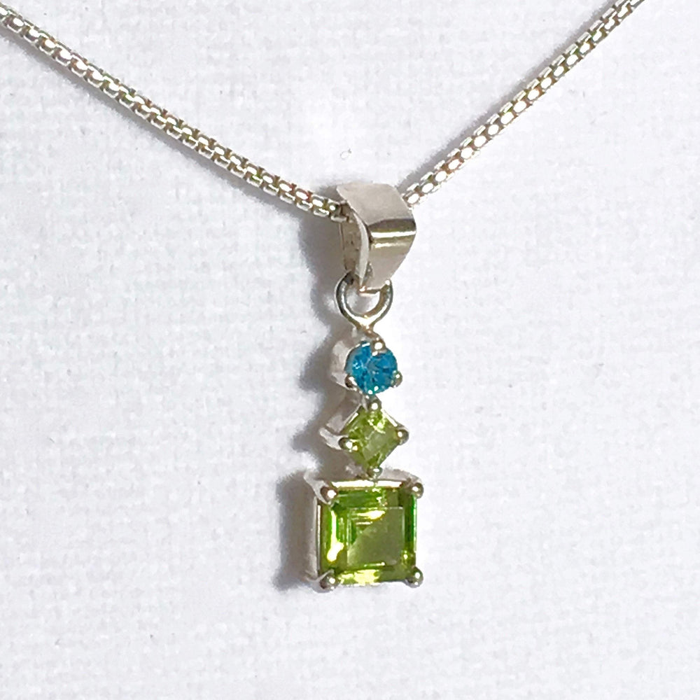 Peridot Pendant Necklace | Square Cut | Dainty Necklace | Green Peridot with Blue Apatite Gems | Silver Chain | August Birthstone