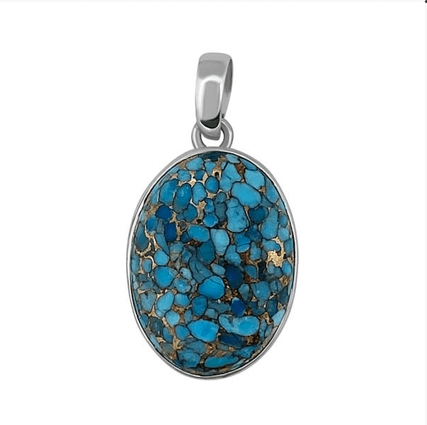 Greta Jones Jewelry Women - Jewelry - Necklaces Blue Copper Turquoise Pendant Necklace - Sterling Silver Greta Jones Jewelry