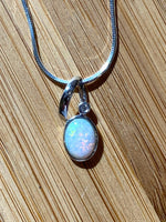 Opal Mini Pendant Necklace | Dainty Genuine Opal | Sterling Silver