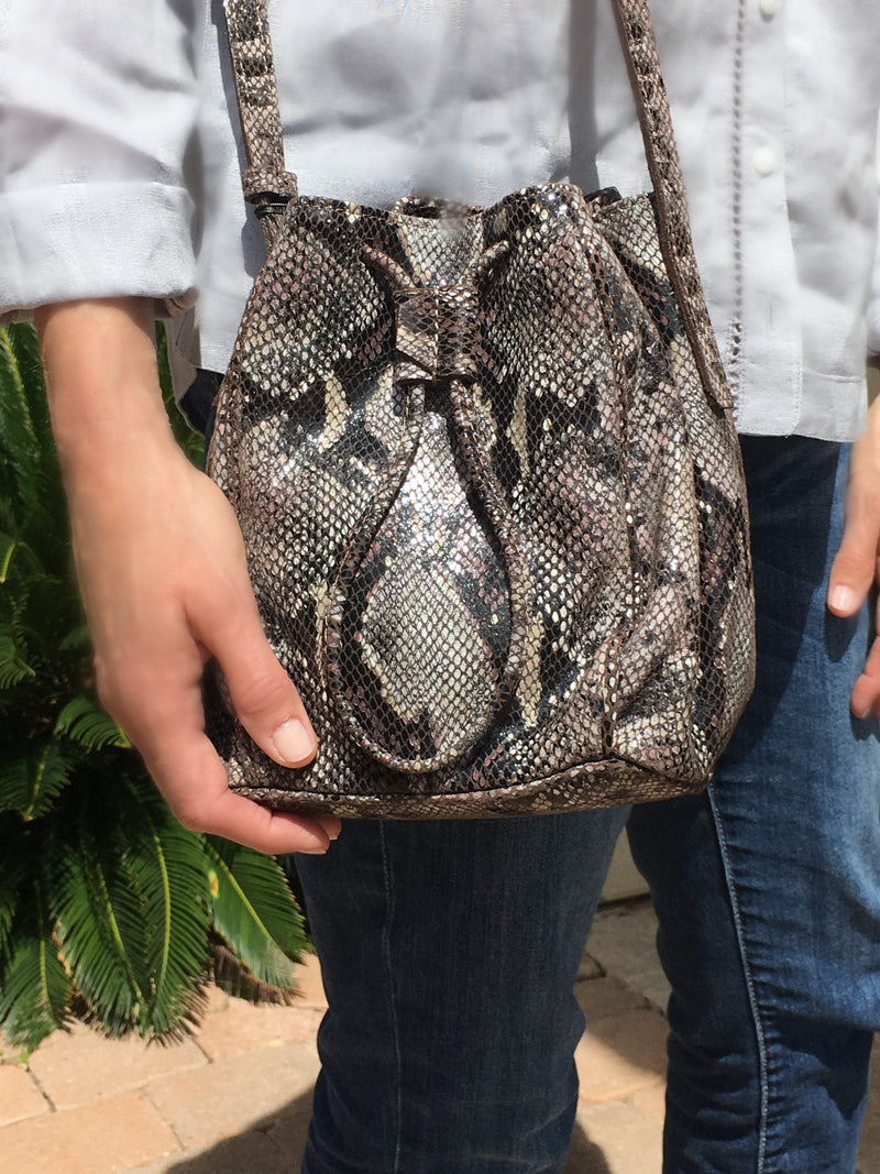 High Line Drawstring Bucket Bag - Brown Snake Embossed Leather