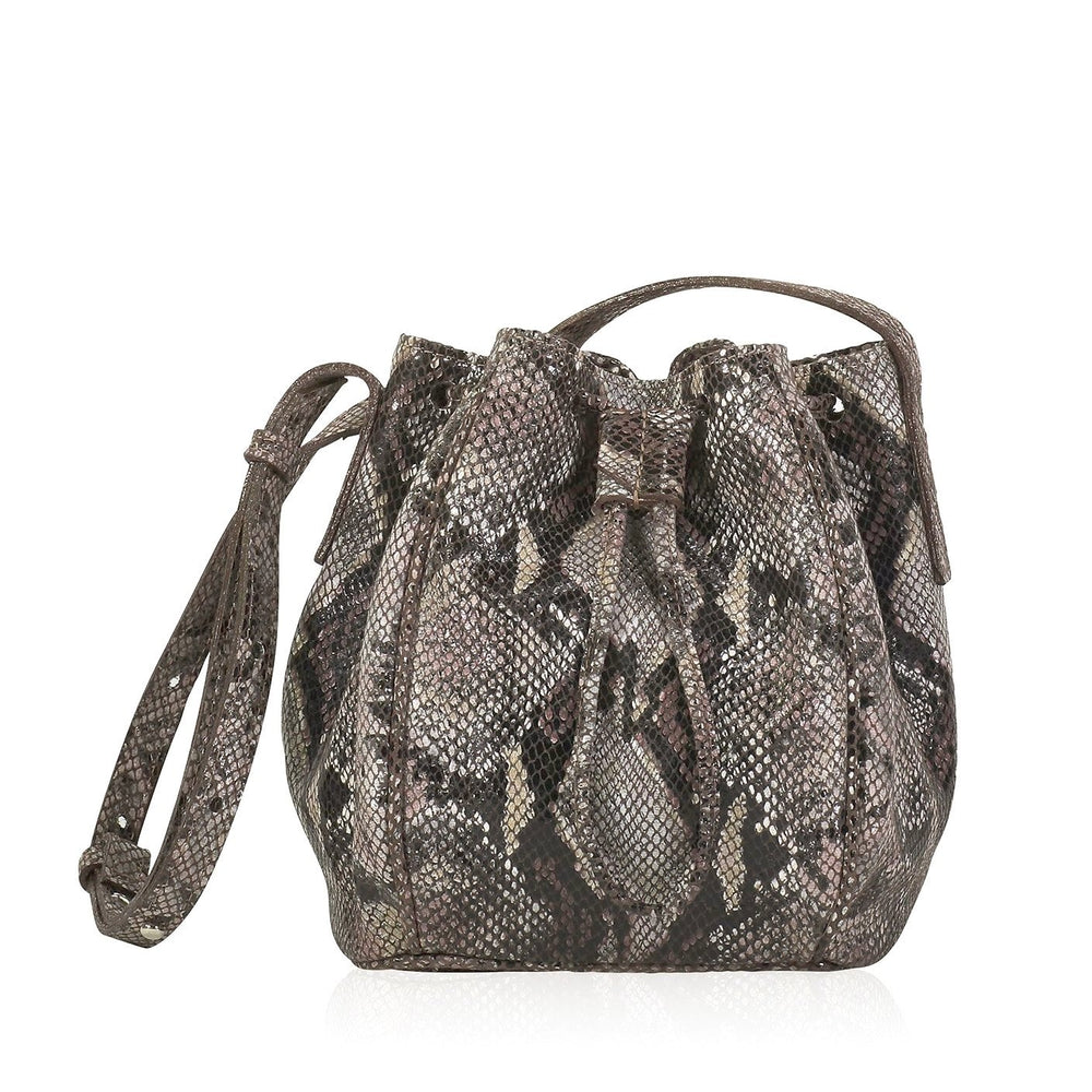 High Line Drawstring Bucket Bag - Brown Snake Print Leather