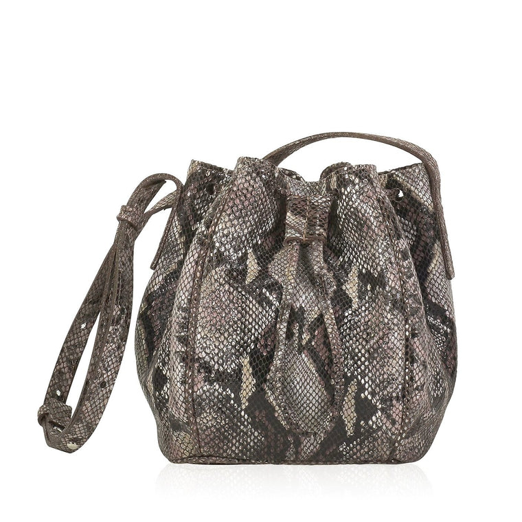JOANNA MAXHAM Leather Crossbody Bucket Bag - Brown Snake Print