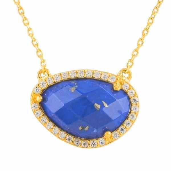 Lapis Lazuli Pave Pendant Necklace - Gold - Verbena Sky , Women - Jewelry - Necklaces - Verbena Sky, [Verbena Sky Boutique]