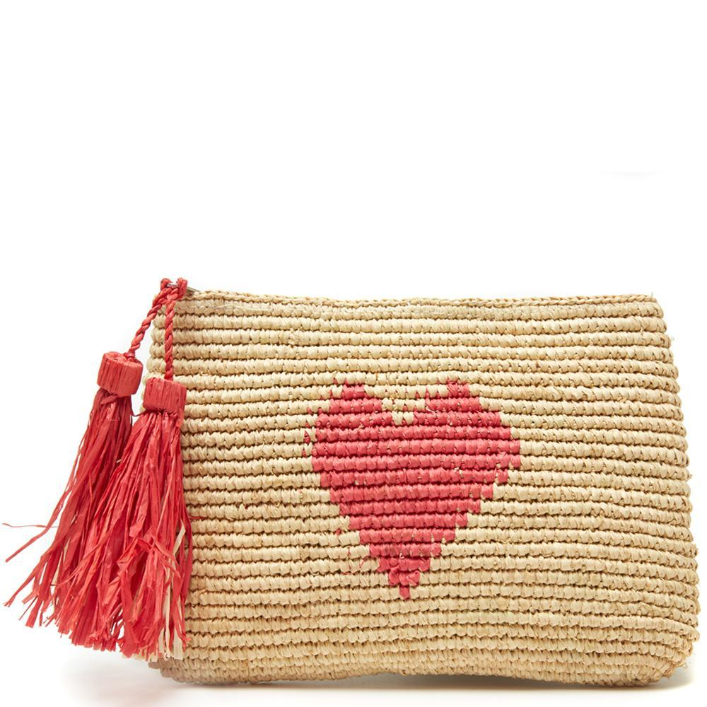 Mar Y Sol Carrie Clutch - Coral Pink | Cotton Lined Straw Clutch | Small Raffia Straw Bag | Red Heart | Resort Beach Bags