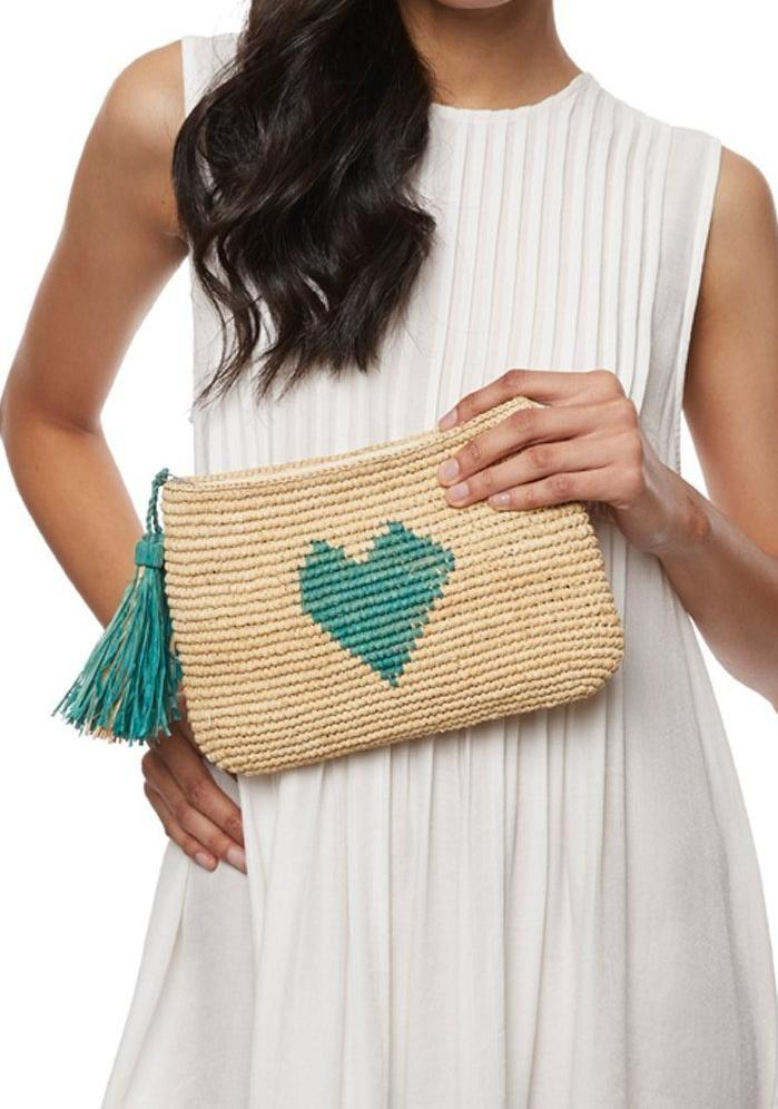 MAR Y SOL Women - Bags - Clutches & Evening Mar Y Sol - Carrie Raffia Clutch - Coral MAR Y SOL