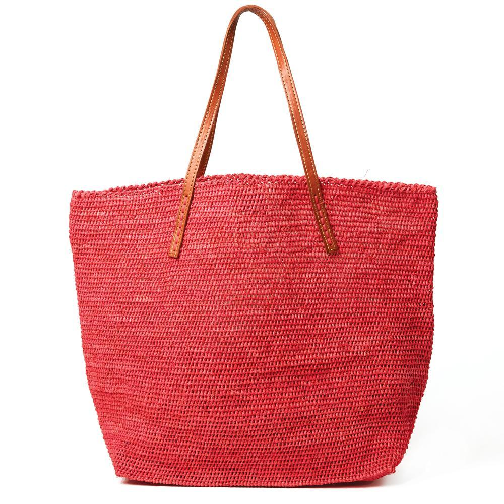 Mar Y Sol Portland Tote - Coral Red Pink | Cotton Lined Straw Bag | Leather Straps | Raffia Straw Tote | Pink Red | Resort Beach Bags