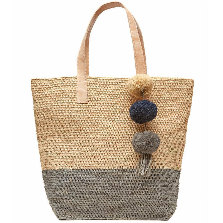 Mar Y Sol - Montauk Raffia Tote Bag - Dove Gray