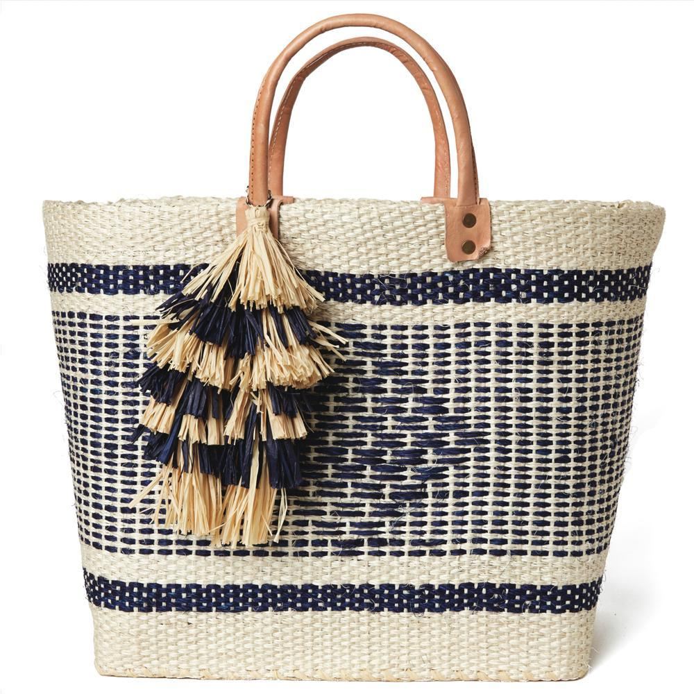 Mar Y Sol  Ibiza Tassel Tote - Natural/Navy