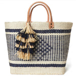 Mar Y Sol  Ibiza Tassel Tote | Natural/Navy| Seagrass Lined | Basket Tote | Sistal straw bag