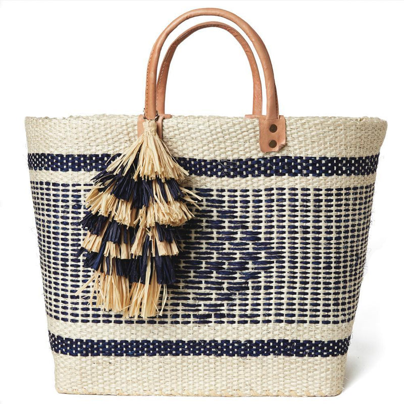 MAR Y SOL Women - Bags - Totes Natural/Navy Mar Y Sol  Ibiza Tassel Tote - Natural/Navy MAR Y SOL