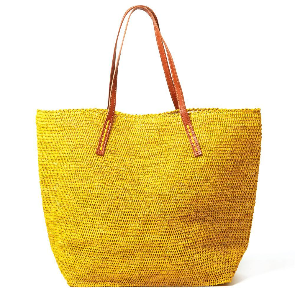 Mar Y Sol Portland Tote - Sunflower Yellow | Cotton Lined Straw Bag | Leather Straps | Raffia Straw Tote | Resort Beach Bags