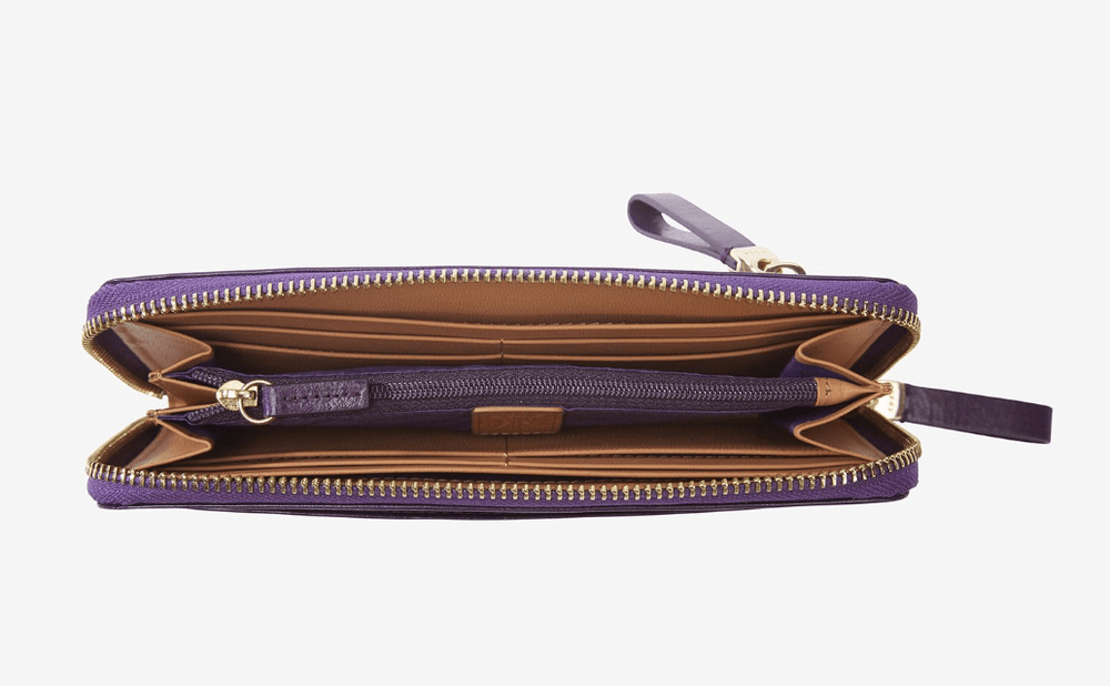 TUSK Kent Leather Single Zip Wallet - Purple - Verbena Sky , Women - Accessories - Wallets - Verbena Sky, [Verbena Sky Boutique]