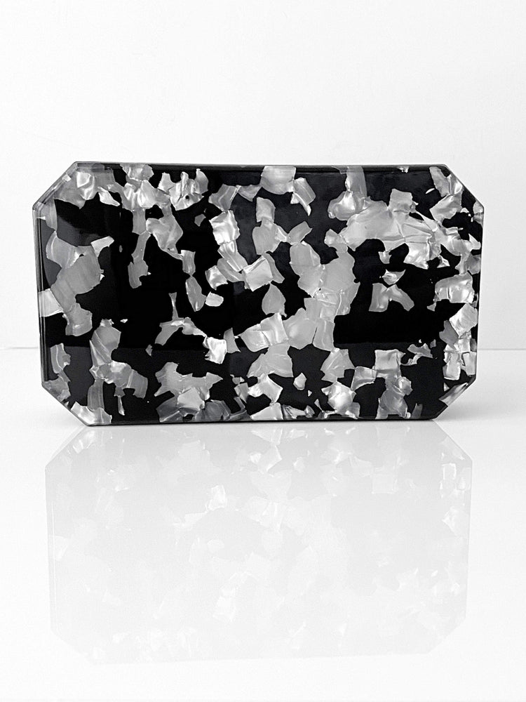Mother of Pearl & Black Box Clutch Minaudière | Unique Bags