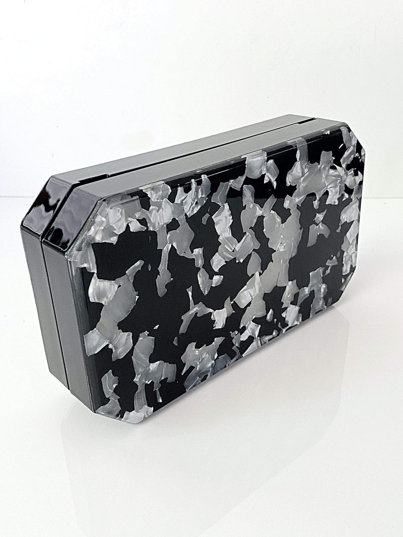 Lucite Acrylic Black & White Box Clutch Minaudière | Unique Bags