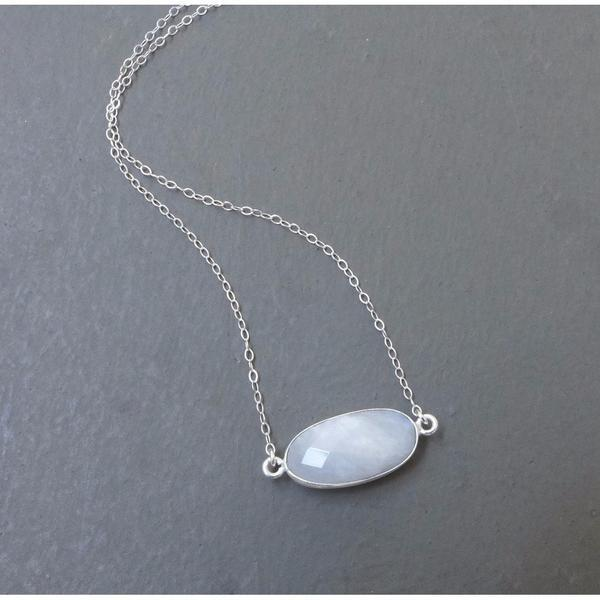 Moonstone Pendant Necklace - Verbena Sky , Women - Jewelry - Necklaces - Verbena Sky, [Verbena Sky Boutique]