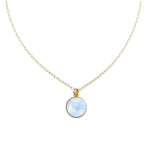 Opal Triplet Mini Pendant Gold Necklace