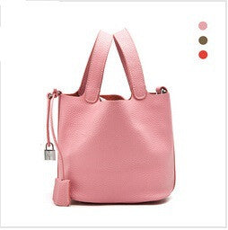 100% Genuine Designer Leather Women Bucket Style Handbag