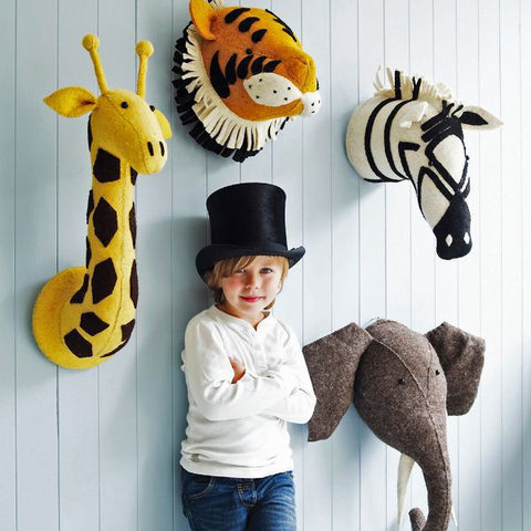 Handcrafted Toy Animal Head Stuffed for Kids Wall Hang