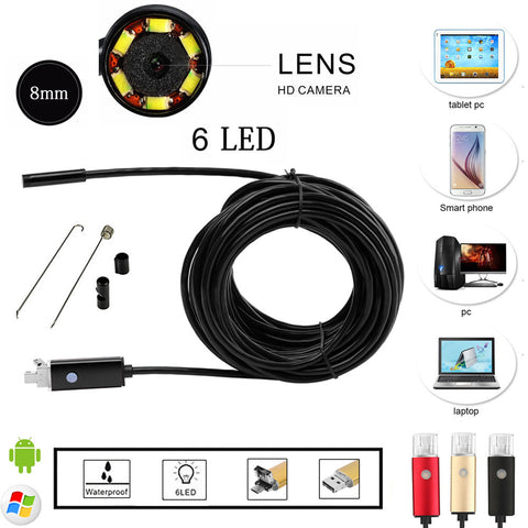 Smart Phone 8mm 6 LED PC Android Endoscope 2.0MP HD 720P Borescope Tube Inspection Wire Cameraon Video Cam 6 Adjustable LED, phone, MHY STORE - MHY STORE