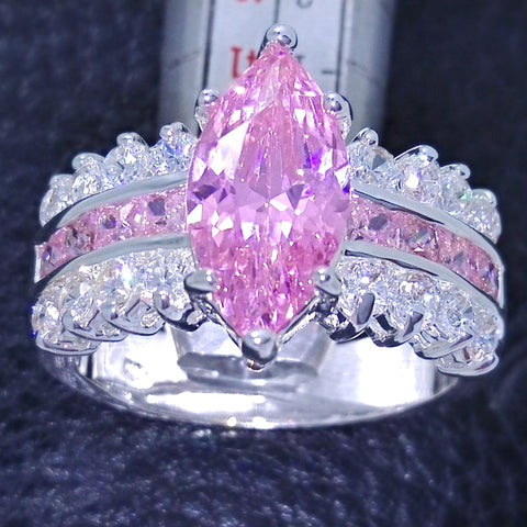 Marquise Cut 3c Pink Sapphire Topaz simulated Diamond 925 Sterling Silver Women Wedding Band Ring