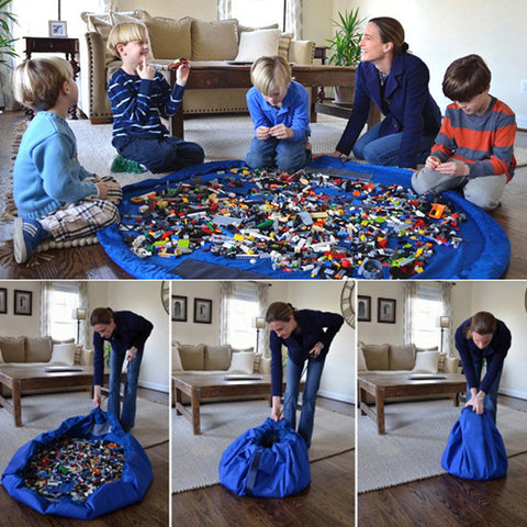 Clutter Clean-Up Children's Storage Bag Organizer Blanket for Legos and Toys