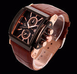 Designer Men's Watch Large Dial Quartz Rose Gold Brown Leather