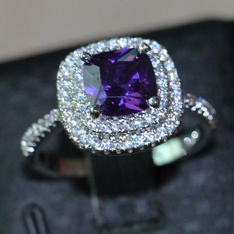 Jewelry Engagement Band 8mm Amethyst simulated Diamond 925 Sterling Silver