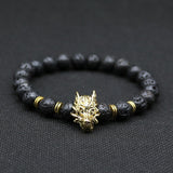 Wolf Head Beaded Bracelet With Natural Stone Beads