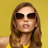 Designer Women Cat Eye Mirror Sunglasses