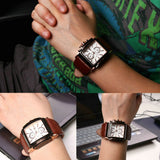 quartz watch for men with leather wristband