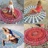 Round Bohemia Beach Towel With Peacock Design, Beach Towels, MHY STORE - MHY STORE