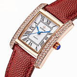 Genuine Leather Square Luxury Dress Watch For Women Quartz Rose Gold, watches, MHY STORE - MHY STORE