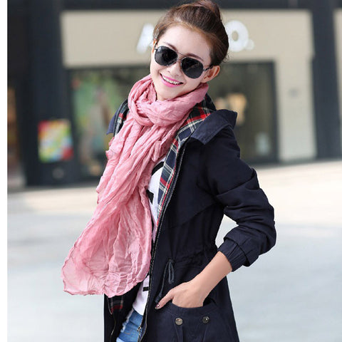 Fashion Casual Solid Soft Cotton Long Scarf for Women, scarf, MHY STORE - MHY STORE