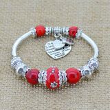 Fashion Silver Plated Heart Charm Bracelet Glass Beads for Women, Bracelet, MHY STORE - MHY STORE